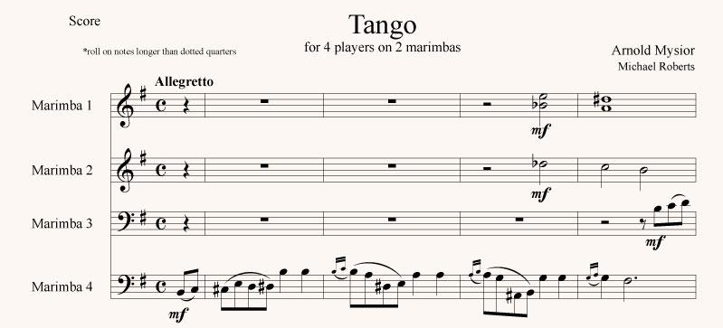 Tango for 4 players on 2 marimbas
